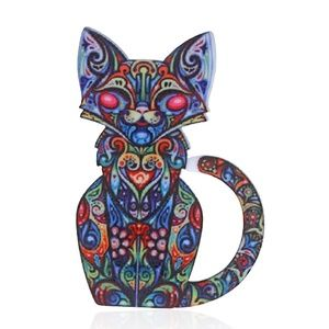 Red Eye Kitty Cat Acrylic Pin Brooch